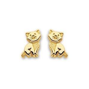 Boucles d'oreilles chat or 750/1000° (18 carats)