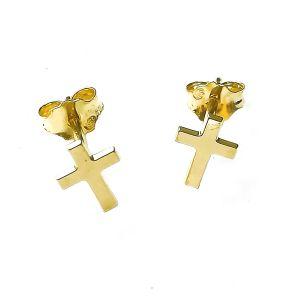 Boucles d'oreilles croix or 750/1000° (18 carats)