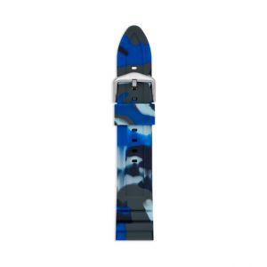 Fossil Men Bracelet De Montre Interchangeable En Silicone Bleu Marine Camouflage 22 Mm - One size