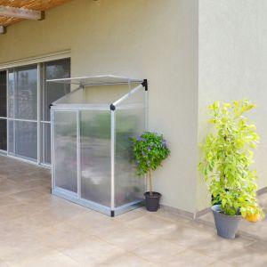 Serre polycarbonate adossée argent 0,80 m² -  Palram