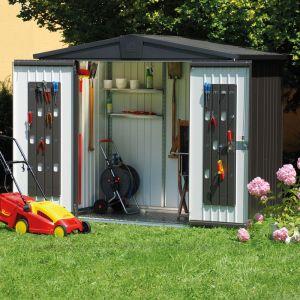 Abri de jardin métal 3,8 m² Ep. 0,53 mm Europa 3 Biohort gris foncé