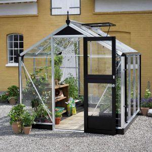 Serre en verre trempé Compact 5 m² aluminium + embase - Juliana