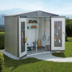 Abri de jardin métal 7,20 m² Ep. 0,53 mm Europa 5 Biohort gris