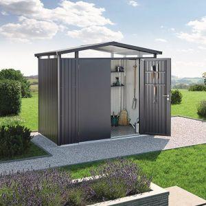 Abri de jardin métal 5,41 m² Panorama P2 Biohort gris foncé