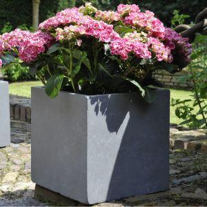 Bac à fleurs en fibre de terre Cubi L34 H30 cm Gris