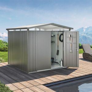 Abri de jardin métal 5,41 m² Panorama P2 Biohort gris quartz