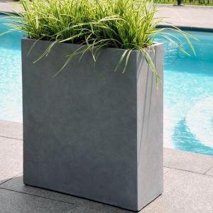 Bac à fleurs fibre de terre Clayfibre L80 H92 cm gris