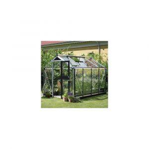 Serre en verre trempé Compact 6,6 m² aluminium + embase - Juliana