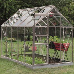 Serre en verre trempé Lily alu 6.20 m² + Embase - Introgrow