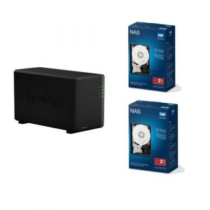 """Serveur NAS Synology DiskStation DS218play 2 baies 1 Go Noir + Disque Dur Interne Western Digital Red Drive Nas 3.5"""" 2 To x 2"""