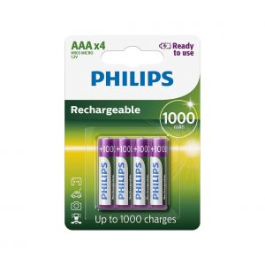 Philips R03B4RTU10/10 - 4 pc Pile rechargeable AAA MULTILIFE NiMH/1,2V/1000 mAh