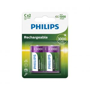 Philips R14B2A300/10 - 2 pc Pile rechargeable C MULTILIFE NiMH/1,2V/3000 mAh