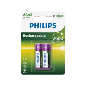 Philips R6B2A260/10 - 2 pc Pile rechargeable AA MULTILIFE NiMH/1,2V/2600 mAh