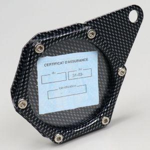 Porte vignette d'assurance hexagonal carbone