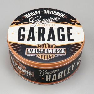 Boite métal  ronde Harley Davidson garage