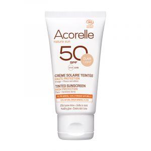 Crème Solaire Bio Teintée Visage - SPF 50 - Acorelle