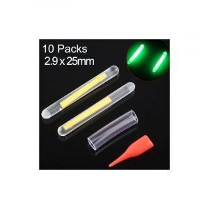 20 Pièces / 10 Packs Ocean Sun Bâton Lumineux Léger Pour Pêche De Nuit, Visibilité: 15m, Taille: 2.9 X 25mm