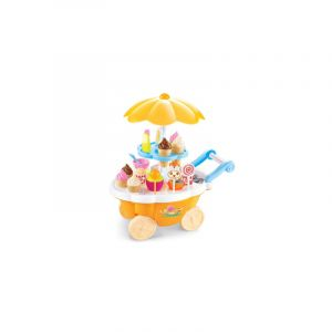 Simulation Small Carts Girl Mini Candy Cart Ice Cream Shop Children Toys Avec Musique And Light(yellow)