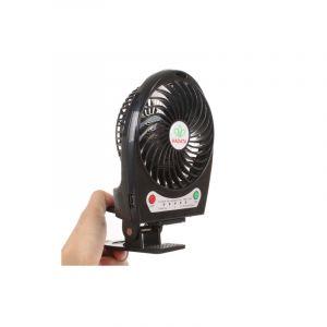 Ventilateur Portable - Rechargeable Usb / Li-ion - Pince De Fixation - 3 Vitesses - Noir