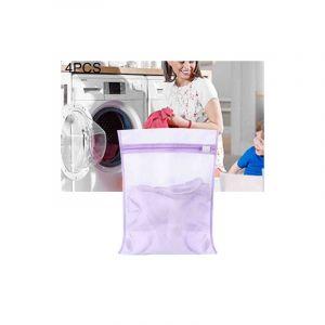 4 Pièces Épaississement Gros Maillage Sac À Linge Costume Polyester Lavage Sac En Maille, Taille: L, 50 X 60 Cm (violet)