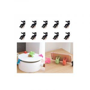 10 Pièces Cuisine Creative Petit Hommes Forme Silicone Lifting Pot Couverture Anti-débordant Outil (noir)