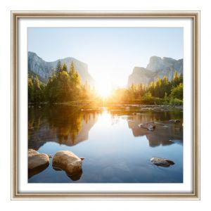 Impression de photos en Cadre en bois en argent type industriel en argent en format 100 x 80 cm
