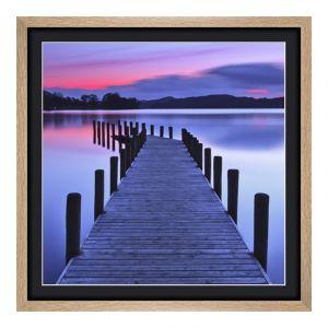 Photo sur poster en Cadre en bois panoramique en chêne veiné naturel en panorama en format 120 x 30 cm