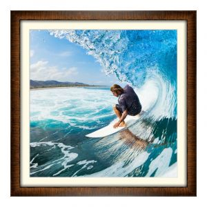 Impression de photos en Cadre en bois marron-châtaigne en format 100 x 80 cm