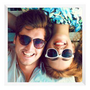 Agrandir photo en Cadre photo bois en blanc carré en format 80 x 80 cm