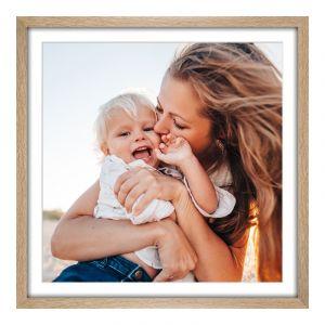 Impression de photos en Cadre photo en véritable chêne veiné naturel en format 100 x 80 cm