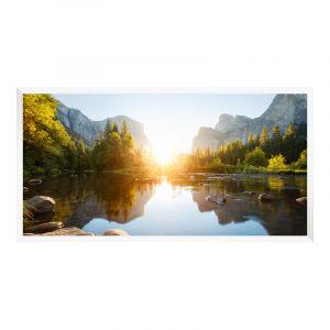 Photo sur poster en Cadre en bois panoramique en blanc en panorama en format 120 x 30 cm