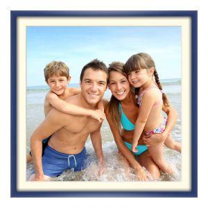 Agrandir photo en Cadre en bois bleu en bleu carré en format 80 x 80 cm