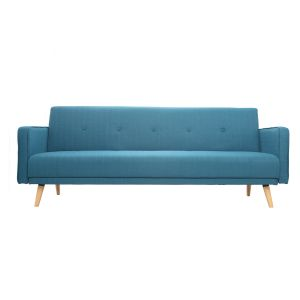 Canapé convertible 3 places design scandinave bleu canard ULLA