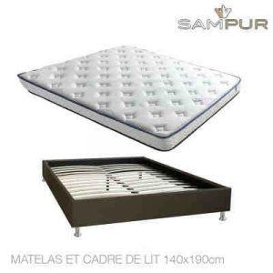 Literie Nano Memoluxe avec Cadre de Lit ou Sommier à Lattes Sampur® Matelas et Cadre de lit 140 x 190
