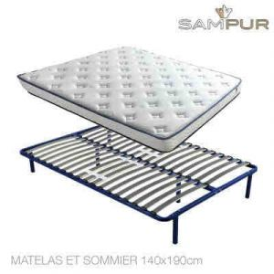 Literie Nano Memoluxe avec Cadre de Lit ou Sommier à Lattes Sampur® Matelas et sommier 140x190