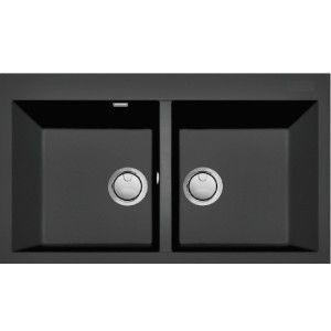 Lot cuves Granit Ikone IKO86 + mitigeur Encastrable, double cuve rectangulaire