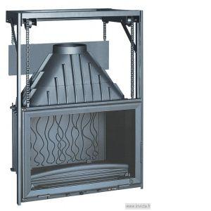 Foyer à bois Invicta 6876-44 Grande vision 700 Porte Relevable Puissance 14 kw, bûches de 55 cm