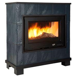 Poêle à bois Godin HIBISCUS 630121 anthracite et décor céramique coloris au choix Puissance maxi 8.5 kW,