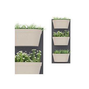 Jardin vertical 3 bacs, fond gris foncé bac gris chaud