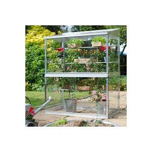 Mini serre de jardin en verre et aluminium H. 150cm