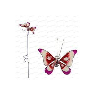 Papillon décoratif en verre sur tige - Rose
