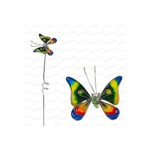 Papillon décoratif en verre sur tige - Multicolore