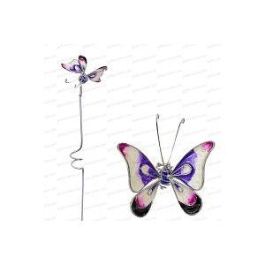 Papillon décoratif en verre sur tige - Blanc/violet