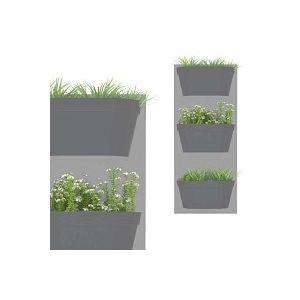 Jardin vertical 3 bacs, fond gris clair bac anthracite