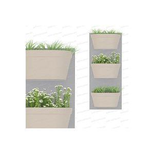 Jardin vertical 3 bacs, fond gris clair bac gris chaud