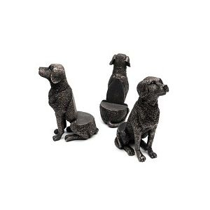 Porte plante Support pot de fleurs - CHIEN Labrador assis - Lot de 3