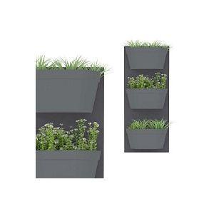 Jardin vertical 3 bacs, fond gris foncé bac anthracite