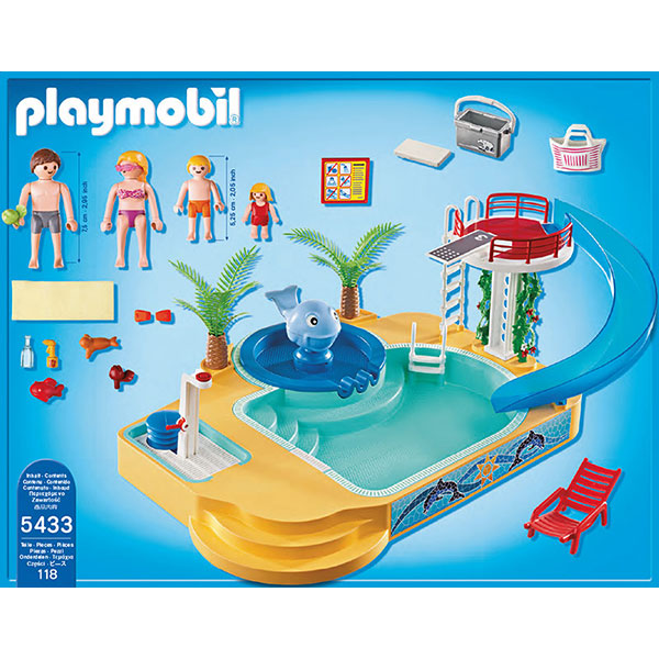 Playmobil 5433 summer fun famille avec piscine et for Piscine playmobil prix