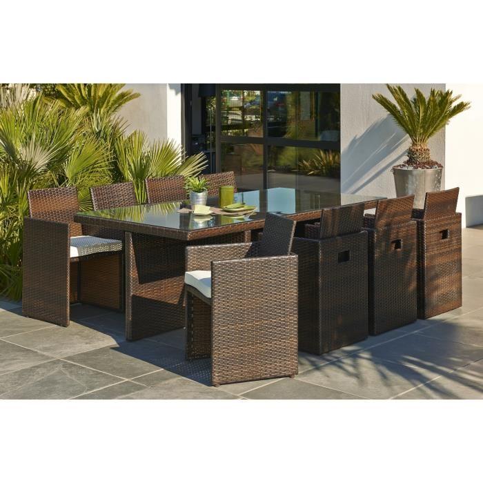DCB Garden Table de jardin en résine tressée avec 8 fauteuils encastrable
