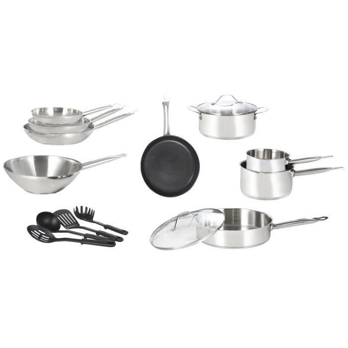 Art cuisine batterie de cuisine induction 15 pi ces en for Batterie de cuisine induction inox